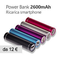 caricabatterie power bank 2600mAh smartphone iphone